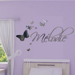 Miroir - Prénom Déco Papillons et Etoiles