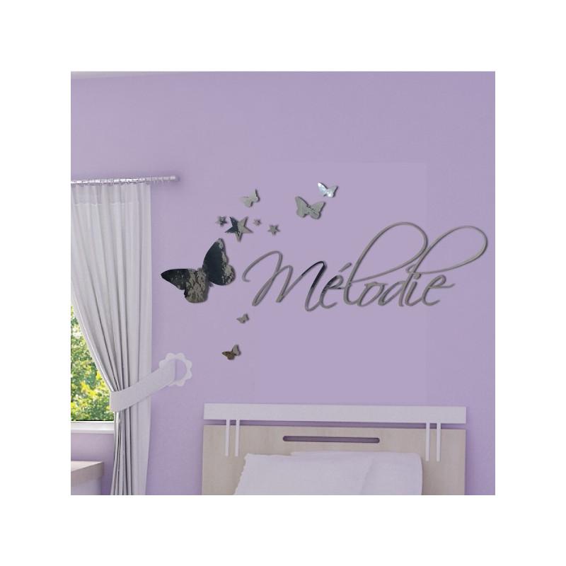Sticker Miroir - Prénom Déco Papillons et Etoiles