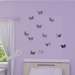 Sticker Miroir - Pack / kit 12 papillons - Silhouettes 7x5cm