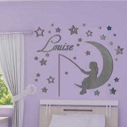Sticker Miroir - Fillette sur la lune qui pêche - Etoiles et Prénom