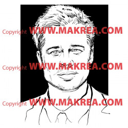 Sticker Portrait Brad Pitt