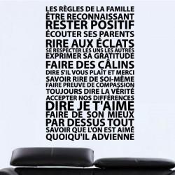 Sticker Texte Les règles de la Famille