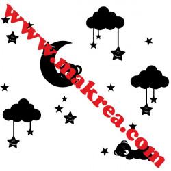 Sticker Lune Ourson, Nuages et étoiles