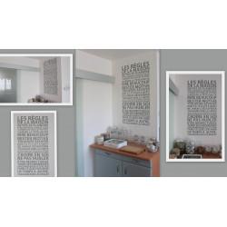 Sticker Texte les regles de la maison