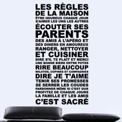 Sticker Texte Les Règles de la Maison ...C'est sacré