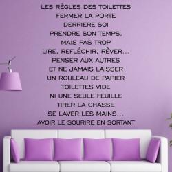 Sticker Texte : Les règles des Toilettes...avoir le sourir