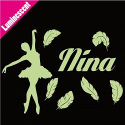 Sticker Luminescent Danseuse Classique Plumes + prénom