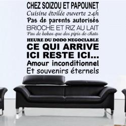 Sticker Texte : Chez ...Cuisine ouverte 24h
