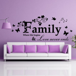 Sticker Texte : Family Where life begins & Love never ends