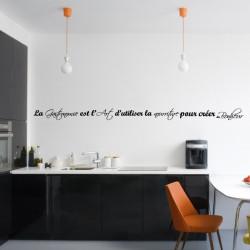 Sticker Texte : La Gastronomie est l'Art d'utiliser la nourriture pour créer du Bonheur - 1 ligne