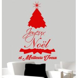 Sticker Noël - Sapin Joyeux Noël et Meilleurs Voeux