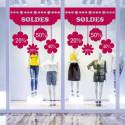 Sticker vitrine SOLDES - Fleurs suspendues