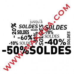 Sticker vitrine SOLDES - Mots mêlés