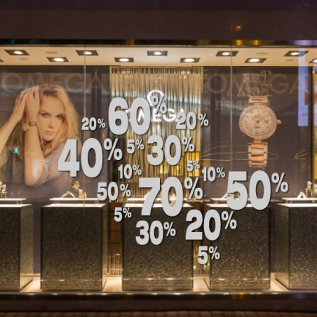 vitrine SOLDES - Mêlés de Pourcentages