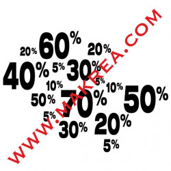 Sticker vitrine SOLDES - Mêlés de Pourcentages