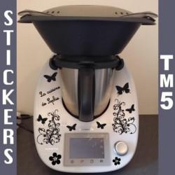 Sticker Thermomix TM5 - Fleurs Papillons + La cuisine de ...