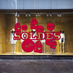 Sticker vitrine SOLDES - Sacs & Pourcentages