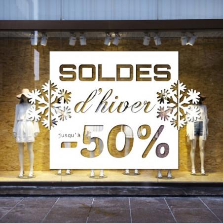 vitrine - Soldes d'hiver Cadre Flocons