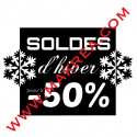 Sticker vitrine - Soldes d'hiver Cadre Flocons