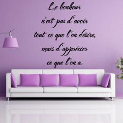 Citation : Le bonheur n'est pas d'avoir tout ce que l'on désire...