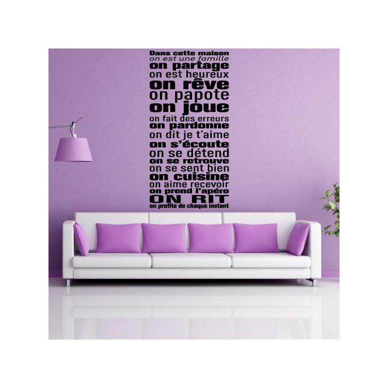 sticker texte dans cette maison on est une famille. Black Bedroom Furniture Sets. Home Design Ideas