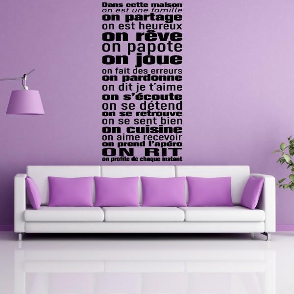 texte dans cette maison on est une famille with stickers citation dans cette maison. Black Bedroom Furniture Sets. Home Design Ideas