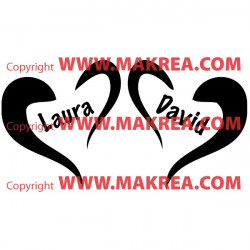 Stickers 2 Coeurs + prénoms personnalisables