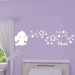 Sticker Bébé Eléphant souffle des Etoiles + Prénom