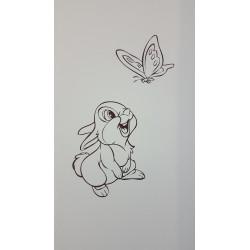 Sticker Bambi - Panpan regarde le Papillon