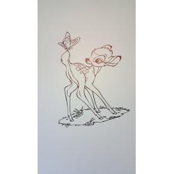 Sticker Bambi debout et le Papillon