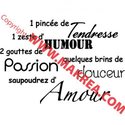 Sticker Texte Recette de l'Amour