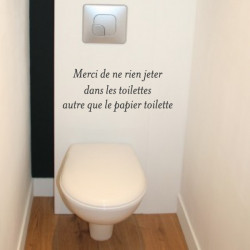 Sticker Texte : Merci de ne pas jeter dans les toilettes autre que le papier toilette