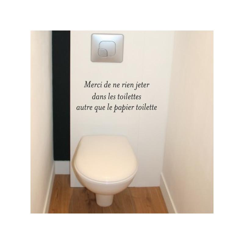 Sticker Texte : Merci de ne rien jeter dans les toilettes autre que le papier toilette