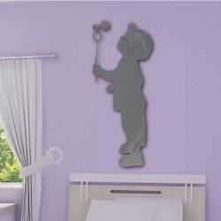 Sticker Miroir - Silhouette Enfant qui souffle une bulle