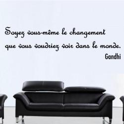Sticker Texte Citation : Soyez vous-même le changement que vous voudriez voir dans le monde - Gandhi