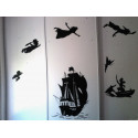 Sticker PACK Silhouette Peter Pan s'envole, bateau pirate, Capitaine Crochet