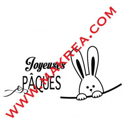 Sticker Vitrine Lapin & Joyeuses Pâques