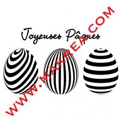 Sticker Vitrine 3 oeufs & Joyeuses Pâques