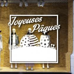 Sticker Vitrine Cadre Décor Oeufs & Joyeuses Pâques