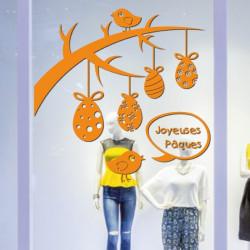 Sticker Vitrine Branche & Oeufs suspendus, oiseaux, Joyeuses Pâques