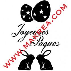 Sticker Vitrine Joyeuses Pâques, Oeufs & Lapins