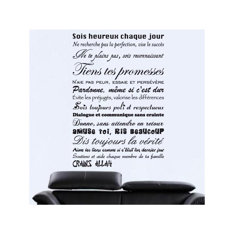 Sticker Texte : Soit heureux chaque jour...Crains Allah