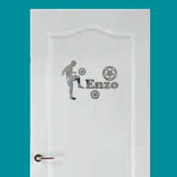 Sticker Miroir de porte - Footballeur ballons + prénom