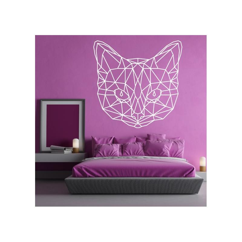 Sticker Géométrique - Tête de Chat