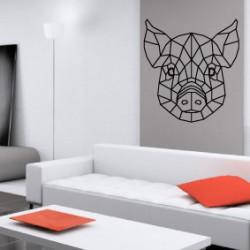 Sticker Géométrique - Tête de Cochon