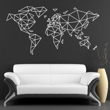 Sticker Géométrique - Mappemonde Planisphère