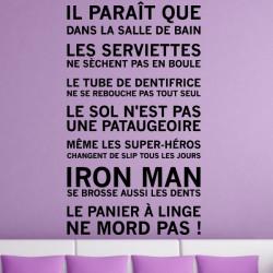 Sticker Les Règles de La Salle de Bain...Iron Man