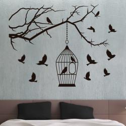 Sticker Nature - Branche d'arbre et Cage à Oiseaux