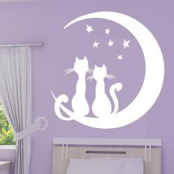 2 Chats Lune et Etoiles