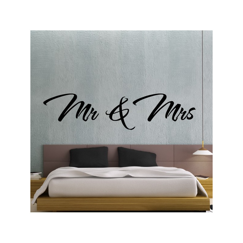 Sticker Texte Lettrage : Mr & Mrs